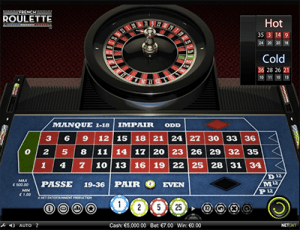 outside bet on netent's french roulette