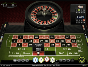 European roulette by NetEnt martingale