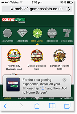 Casino-Mate iOS Web App