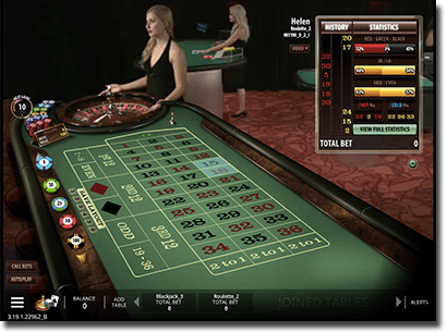 Casino view in live dealer Microgaming roulette