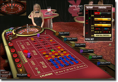 Live dealer Playboy roulette by Microgaming