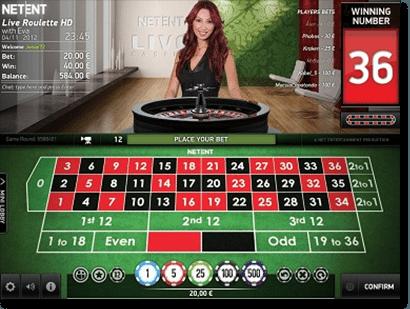 Live dealer roulette by Net Entertainment