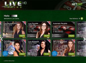 NetEnt live dealer roulette lobby
