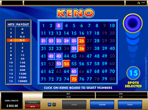 Keno at Guts by Microgaming